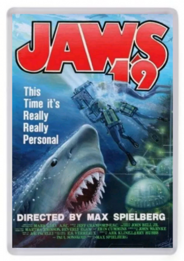 Jaws 19 Fridge Magnet. Inspired by Back to the Future